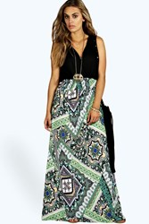 Boohoo Paisley Print Contrast Maxi Dress Multi
