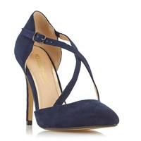 Head Over Heels Candice Cross Strap Pointed Court Shoes Navy