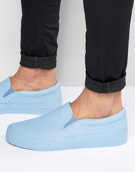 Asos Slip On Plimsolls In Powder Blue Dusty Blue