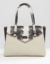 Paul's Boutique Pauls Tote Bag With Faux Snakeskin Panel Stone Black Beige