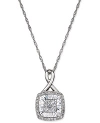 Macy's Diamond Square Style Miracle Plate Pendant Necklace 1 4 Ct. T.W. In 14K White Gold