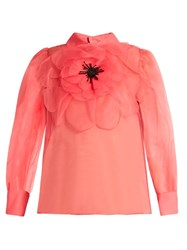 Gucci Embellished Poppy Rosette Silk Organza Blouse Pink