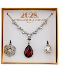 2028 Silver Tone Red And Clear Crystal 3 In 1 Interchangeable Pendant Necklace Box Set