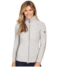 Fjall Raven Vik Zip Cardigan Light Grey Women's Sweater Gray