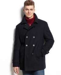 Tommy Hilfiger Double Breasted Wool Blend Peacoat Trim Fit