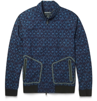 Marc By Marc Jacobs Patterned Cotton Lightweight Bomber Jacket Blue