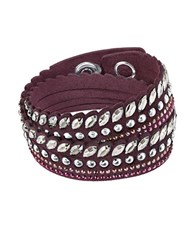 Swarovski Stainless Steel And Leather Bracelet Red