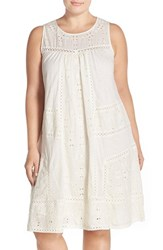 Plus Size Women's Lucky Brand Eyelet Embroidered Mixed Media Shift Dress