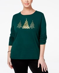 Karen Scott Plus Size Holiday Tree Graphic Top Only At Macy's Spruce Night