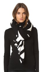 White Warren Cashmere Travel Wrap Scarf Black White