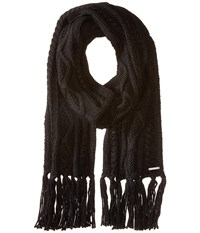 Michael Michael Kors Classic Hand Knit Cable Muffler Black Scarves