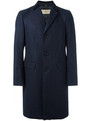 Burberry Single Breasted Coat Blue