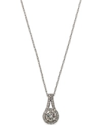 Macy's Diamond Halo Pendant In 14K White Gold 3 4 Ct. T.W.
