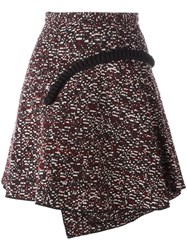 Carven Jacquard Applique Detail Pleated Skirt Red
