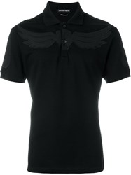 Alexander Mcqueen Wings Embroidered Polo Shirt Black