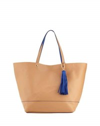 Neiman Marcus Saffiano Faux Leather Tassel Tote Bag Camel