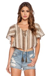 Eternal Sunshine Creations Indian Ivy Crop Wing Top Tan