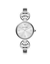 Emporio Armani White Mother Of Pearl Dial Stainless Steel Eagle Logo Women's Watch Silver