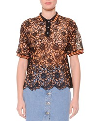 Msgm Knit Lace Polo Shirt Orange Black