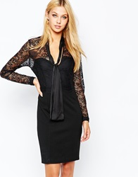 Lipsy Waxed Lace Pencil Dress With Bow Tie Detail Black