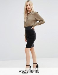 Asos Petite High Waisted Pencil Skirt With Elastic Detail Black