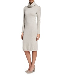 Ralph Lauren Black Label Long Sleeve Cashmere Sweaterdress Light Gray Melange