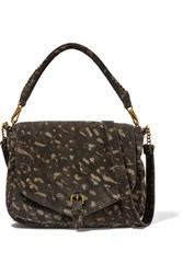 Jerome Dreyfuss Virgile Printed Suede Shoulder Bag Army Green