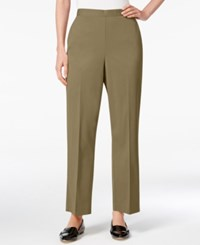 Alfred Dunner Petite Pull On Straight Leg Pants Olive