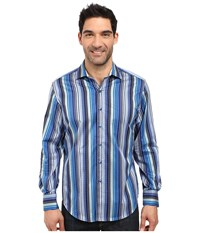 Robert Graham Tranverse Long Sleeve Woven Shirt Blue Men's Clothing