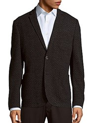 Sand Medallion Pattern Cotton And Virgin Wool Jacket Grey