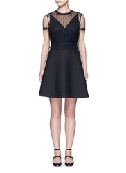 Valentino Tulle Bodice Crepe Couture Dress Black