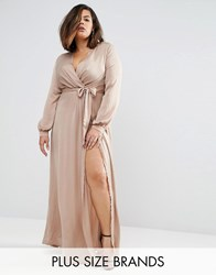 Missguided Plus Wrap Maxi Dress Brown