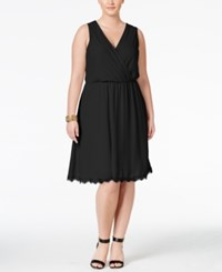 Love Squared Trendy Plus Size Faux Wrap Fit And Flare Dress Black