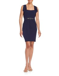 Decode 1.8 Embellished Ruffle Sheath Dress Navy