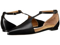 Massimo Matteo Flat T Strap Black Women's Flat Shoes