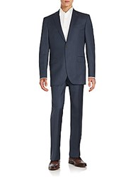 Saks Fifth Avenue Pinstriped Wool Suit Blue