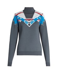 Peter Pilotto Intarsia Knit Wool Blend Sweater Grey