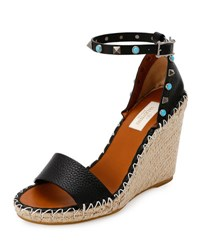 Valentino Rockstud Double Espadrille Wedge Sandal Nero Bright Cuir