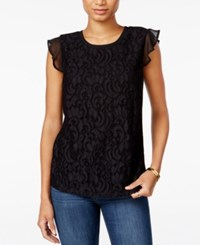 Maison Jules Flutter Sleeve Crochet Lace Top Only At Macy's Deep Black