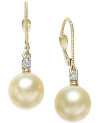 Macy's Cultured Golden South Sea Pearl 9Mm And Diamond 1 10 Ct. T.W. Drop Earrings In 14K Gold