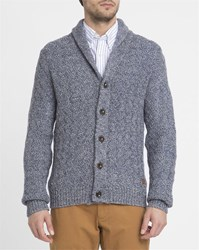 Wrangler Mottled Navy Cable Knit Shawl Collar Cardigan Blue
