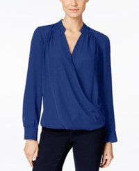 Inc International Concepts Long Sleeve Surplice Blouse Only At Macy's Goddess Blue