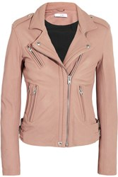 Iro Han Leather Biker Jacket Pink