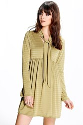 Boohoo Shimmer Stripe Smock Tie Neck Dress Olive