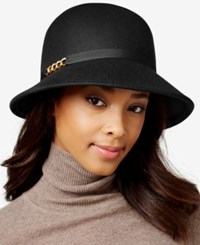 August Hats Ribbon And Chain Link Felt Cloche Black