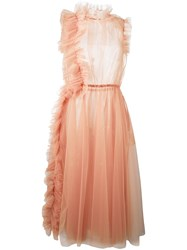 Msgm Sheer Tulle Dress Pink And Purple
