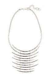 Robert Lee Morris Jewelry Silver Plated Shiny Hammered Collar Necklace Gray