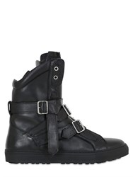 Dsquared Belted Leather High Top Sneakers