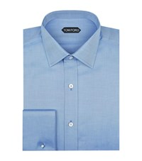Tom Ford Cotton Twill Formal Shirt Male Blue