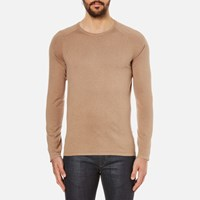 Hugo Men's San Francisco Cotton Silk Cashmere Jumper Light Pastel Brown Beige